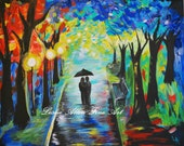 """Couple in Love Couples Romance Romantic Walking Strolling Park Walkway Path """"Caught In The Moment"""" Original"""