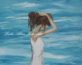 "Woman Painting Girl Female Water Ocean Beach Seascape Original Sundress Landscape ""Sound of Solitude"" Artist Leslie Allen EnjoyTheView"