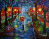 "Couple In Love Couple Kissing Couples Romance Romantic Man and Woman Umbrella Rainy Walking  Lighted Park Painting ""Just One Kiss "" Original"