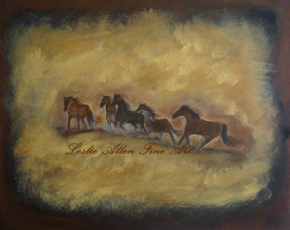"""Horse Art Original Canvas SALE Painting Horses  Stallions  Mustangs Wild Horses Mare Wild  """"The Wild And Free Ones"""" Original """"EnjoyTheView"""""""