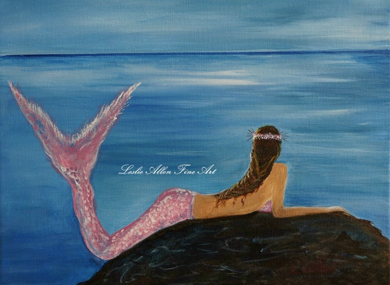 "Mermaid Painting Art Little Mermaid Mermaids Fantasy Magical Seascape ""Beautiful Morning"" Original Mermaid Painting Seascape Ocean"