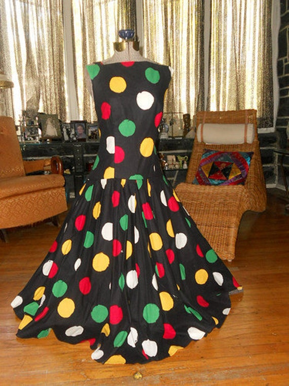 80's Victor Costa Polka Dot Party Dress