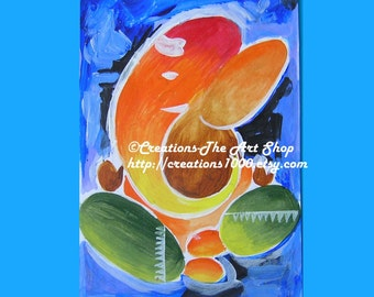 Blue Elephant Abstraction- Photo Print of Original Handmade Painting- 12 x 10 inches