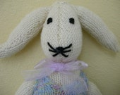 Cute Knit Rabbit in Sweater With Pink Ribbon