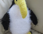 Soft Cuddly Fuzzy Peppy Penguin With Long Yellow Beak
