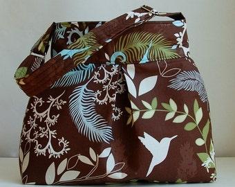 Birds of a Feather Pleated Hobo Handbag / Purse - READY TO SHIP