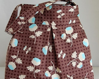 Chocolate Tossed Flowers Pleated Hobo Handbag / Purse - READY TO SHIP