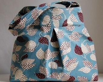 Blue Dotted Leaves Fabric Pleated Hobo Handbag / Purse - READY TO SHIP