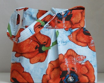 Big Poppies Fabric Pleated Hobo Handbag / Purse - READY TO SHIP