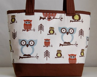 Hootie Owl Fabric Tote Bag - READY TO SHIP