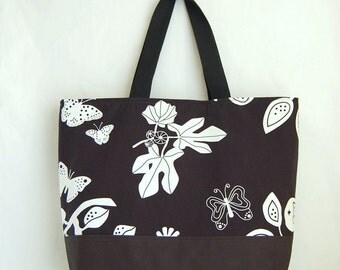 Butterfly on Black XL Extra Large Beach Bag / BIG Tote Bag - Ready to Ship