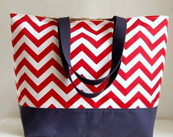 Red Chevron XL Extra Large BIG Tote Bag / Beach Bag - Ready to Ship