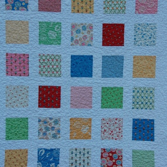 Baskets of Flowers Windowpanes Baby Quilt