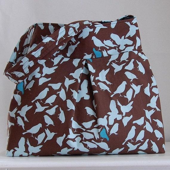 Natureology Birds Fabric Pleated Hobo Handbag / Purse - READY TO SHIP