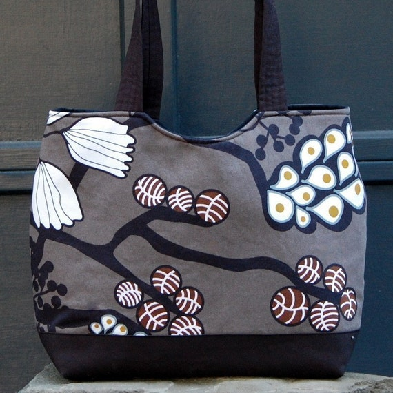 Grey Funky Tree Fabric Shaped Tote Bag