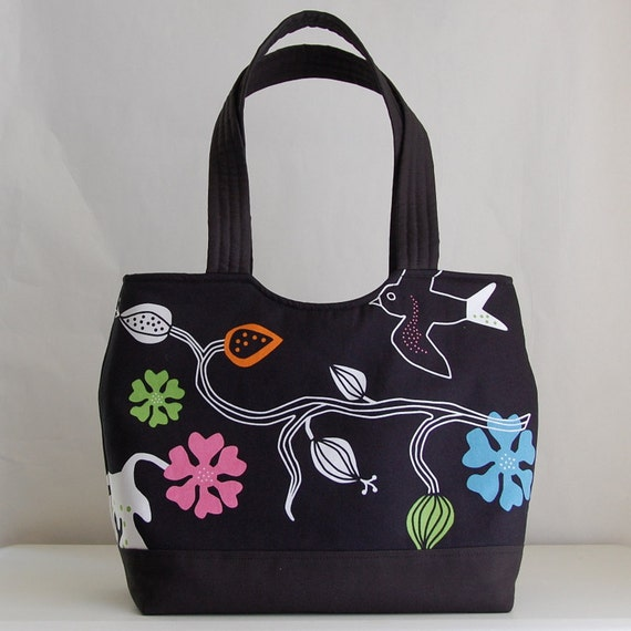 Bird and Flower Black Shaped Tote - READY TO SHIP