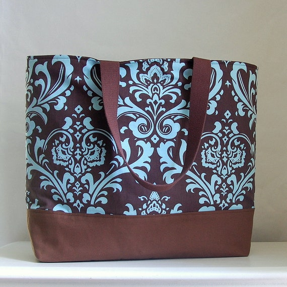Brown & Blue Damask XL Extra Large BIG Tote Bag / Beach Bag - Ready to Ship