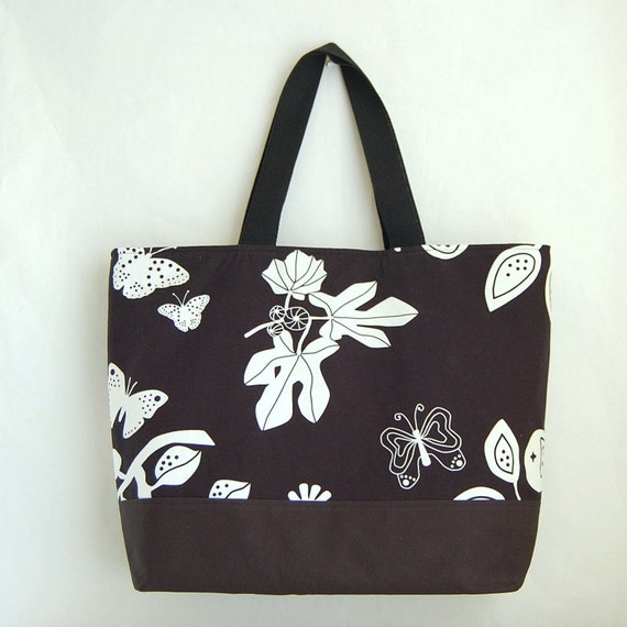 Butterfly on Black XL Extra Large BIG Tote Bag / Beach Bag - Ready to Ship