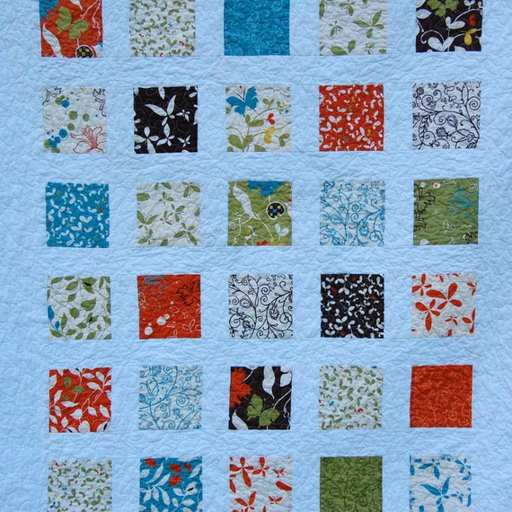 Chrysalis Modern Windowpanes Patchwork Baby Crib Quilt / Blanket - READY TO SHIP