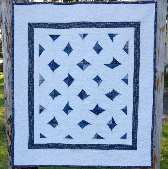 Wonky Blue Diamonds Modern Patchwork Baby Crib Quilt / Blanket - READY TO SHIP