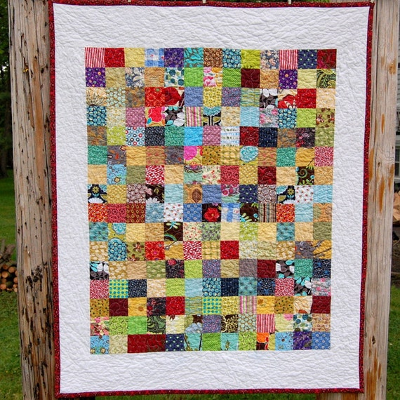 Scrappy Squares Baby Quilt - READY TO SHIP