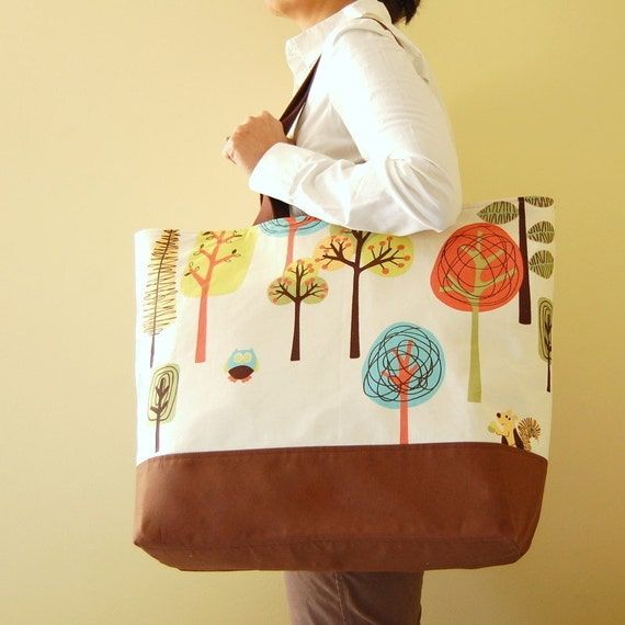 Modern Woodland BIG Tote - Ready To Ship