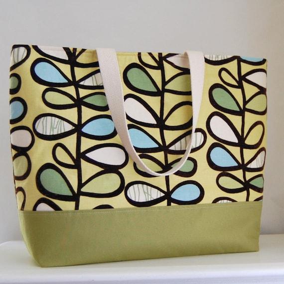 Lemon Modern Leaves XL Extra Large BIG Tote Bag / Beach Bag