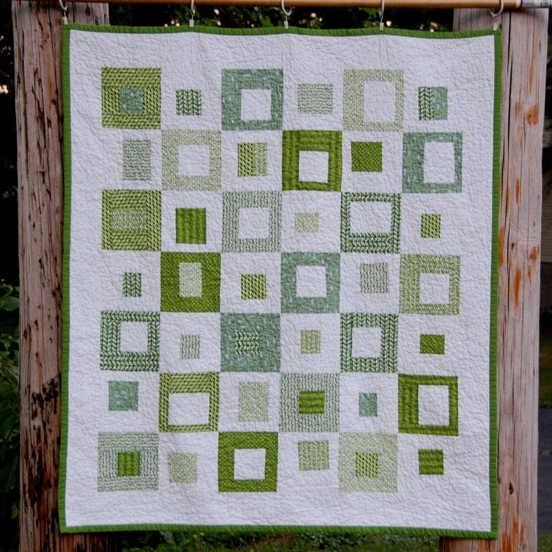 It S Easy Being Green Squares Modern Quilt