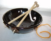 Black Knitting Yarn Bowl with Portholes and Textured Buttons by Goldhawk Pottery Etc