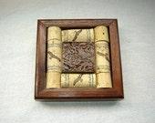 Wine Cork Coaster Trivet with Sepia Ceramic Tile in Black Walnut Handcrafted Wood Frame