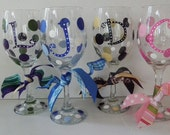 Design your own- Custom, Hand Painted, personalized Wine Glasses- buy 3 and the 4th is half price