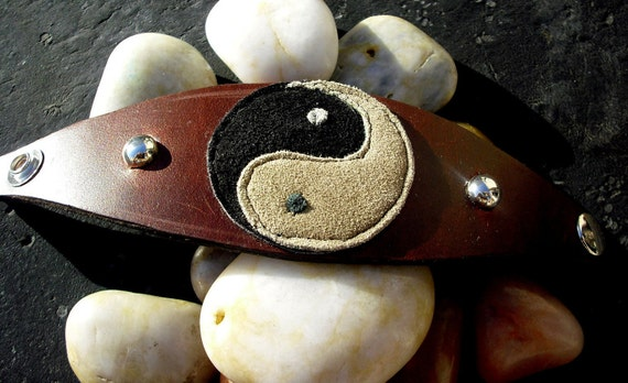 Reserved for T.Bailes /Ying Yang Brown Leather Cuff