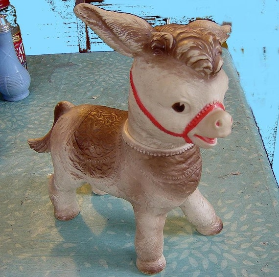 1961 Sun Rubber Co. toy donkey - charity for animals