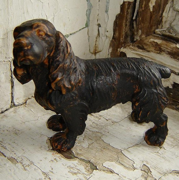 lovely 1930's compo cocker spaniel figurine - charity for animals