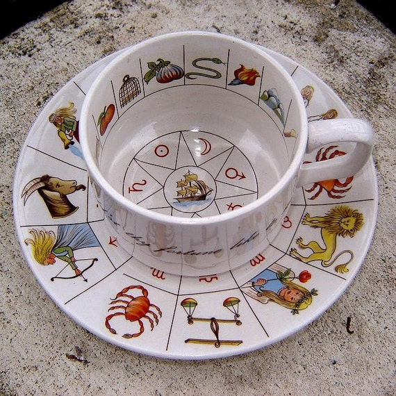 Vintage Taltos Fortune Telling Tea Cup And Saucer