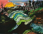 Art print - original Seaside  - folk art - maine artist -  Marianne Ward