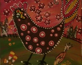 Juniperbean Folk art candy rooster painting