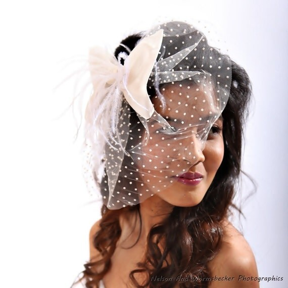 Reserved For Gemma - Polka Dot Veil With Flirty Hair Bow Fascinator