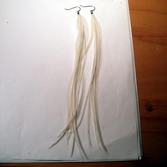 Feather Earrings White Jumbo super long natural
