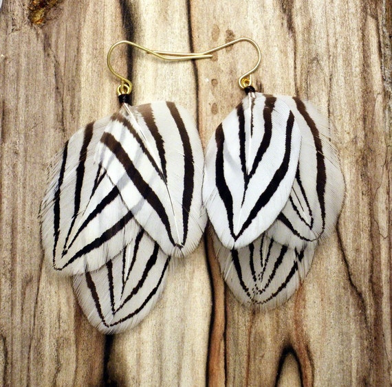 Feather Earrings Flying Zebra