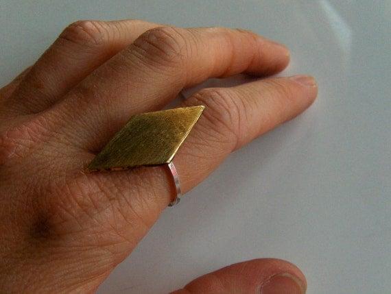 Brass Diamond Cocktail Ring