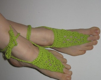 Free shipping - Lace Sandals - Gypsy Shoes - Crocheted Sandals - Beach Shoes - Lime - Cotton