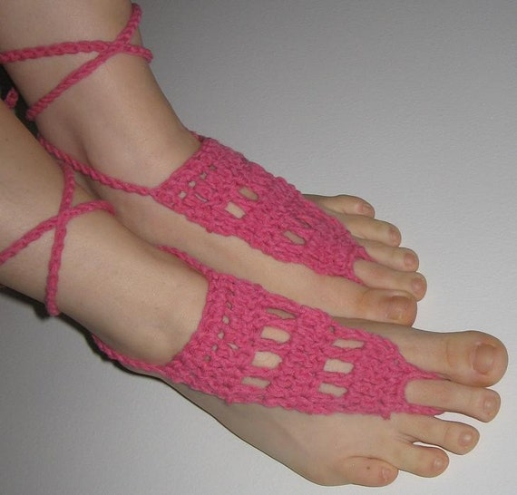 FREE SHIPPING - Beach Shoes - Lace Sandals - Gypsy Sandals - Crocheted Shoes - Pink/Berry