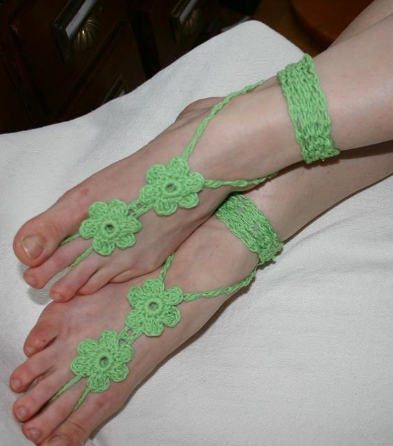 FREE SHIPPING  - Hippie sandals - Lace Sandals - Crocheted Shoes - Gypsy Sandals - Hippie Style Sandals - Lime
