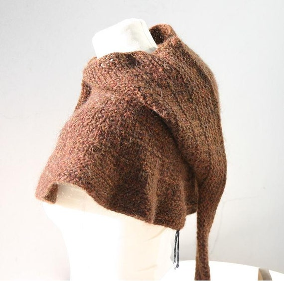 FREE SHIPPING - Special offer - Medieval hoodie - Ancient looking Rusty Brown Hood/Cowl with Poncho - One of a kind
