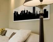 "NEW YORK CITY (Pre-9/11) Skyline Silhouette, Cityscape Vinyl Decal, Wall Sticker (many sizes) 22"" x 6"""
