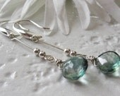 Blue-Green Briolette Teardrop Earrings