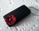 Single Red Flower and Bamboo Necklace - 20 inch