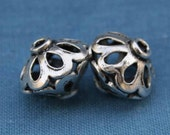 2 Sterling Silver Jali\/Filagree Beads