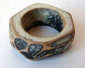 Wooden rock ring in black and cream - made to order